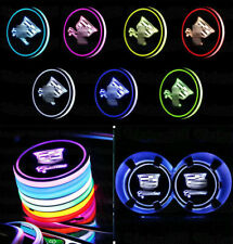 2PCS 7 Colors LED Car Cup Holder Mat Coaster Pad Atmosphere Light for Cadillac