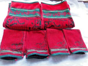 Christmas Holiday Decorative  NOEL Towel /Face Cloth Green, Red 6 piece  set.
