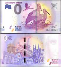 Zero (0) Euro Europe, 2017 - 2 (2nd Print), UNC, Bird,Affenberg Salem in Germany