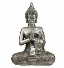 Thai Buddha Silver Statue Sculpture Ornament Meditating Figurine Mirror 22 CM