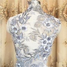 1pc Pearl Beaded Lace Applique 3D Flower Patch Motif Costume Wedding Dress Decor