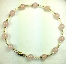 14k solid yellow gold natural Rose Quartz bracelet 7 3/4  inches lobster claw