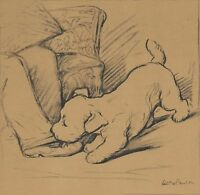 Lucy Dawson SEALYHAM Puppy Chewing Pants Leg Dog Art VINTAGE 1940 MATTED Picture