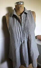 New SILENCE & NOISE Gray Plaid Urban Outfitters Sheer Sleeveless SHIRT TOP M