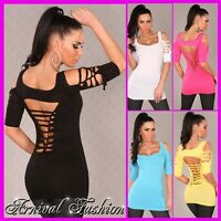 SEXY SHORT SLEEVE TOPS for WOMENS 6 8 10 CASUAL LONG T SHIRT DRESS blouse S M AU
