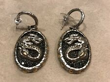 JOHN HARDY Legends Naga Large Lava Oval Dragon Earrings Silver,Gold,Sapphire