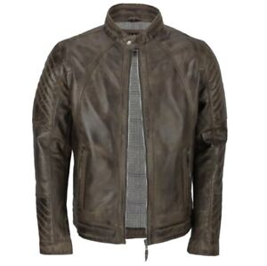 Mens Xposed London Real Leather Jacket Brown Medium