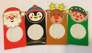 4 x Christmas sweet treat chocolate gift bags 14.5x 8.5cm Santa penguin reindeer