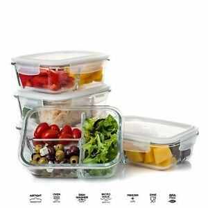 Glass Storage Food Containers With Clip Lids Divided Fridge Lunch Boxes Airtight