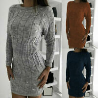 Knitted Ladies Dress Sleeve Womens Mini Winter Sweater Long Bodycon Jumper