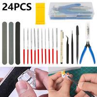 24Pc Modeler Basic Tools Craft Set Hobby Building Tool Kit For Gundam Car Models