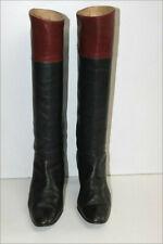 Bottes Vintage Tout Cuir Bicolore Noir bordeaux Petits Talons T 5 / 38 BE