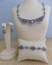 "Brighton ""Garden District"" Reversible Necklace Bracelet & Earrings - 3 piece set"