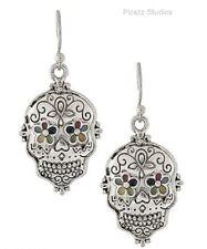 Silver SUGAR SKULL Mexican Day Of The Dead Dangle Pierced Earrings 20-11