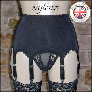8 Strap Luxury Suspender Belt Black (Garter Belt) NYLONZ  Made In UK