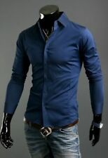 Luxury Shirts Mens Casual Formal Slim Fit Shirt Top S M L XL XXL Ps01 Royal Blue Tag Sizem(us Xs)