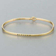 Simple Gold Blessed Engraving Vintage Brass Classic Bangle Bracelet