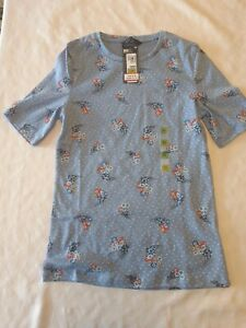 Marks and spencer Womans Floral Blue T Shirt Size 12