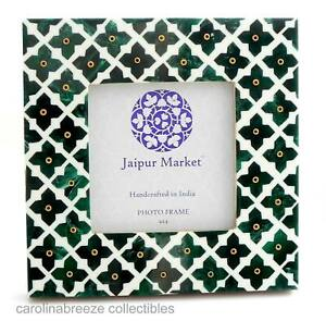 Photo Frame Marbled Green Pointed Crosses On White Background Handmade India 4x4