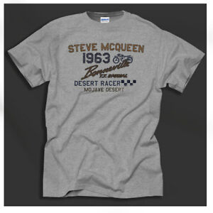 Steve McQueen Biker Motorcycle Triumph Bonneville Retro Print Grey T-shirt