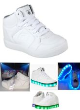 $65 SKECHERS White Boy Youth Leather Light Up  Energy Lights Sneaker Shoes-Sz 3