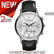 570b666709a Emporio Armani Relógio Masculino Clássico │ Chrono mostrador prateado  pulseira d.