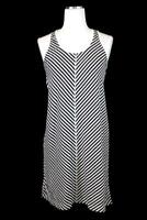 womens black white striped ANN TAYLOR LOFT racerback tank casual shirt dress S