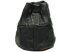 BLACK LEATHER DRAWSTRING WRIST POUCH MONEY CHANGE COIN HOLDER BAG LADIES GENTS