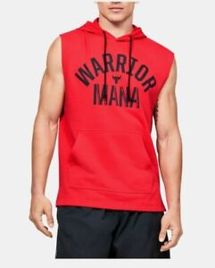 Under Armour Men's Project Rock XLarge Warrior Mana Sleeveless Hoodie Red