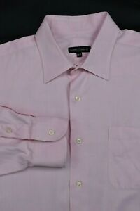 * Robert Talbott * Pink Micro Herringbone 100% Cotton Dress Shirt 17.5 x 37
