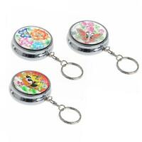 Portable Pocket Stainless Steel Round Keychain Cigarette Car Ashtray-Decor S8E5