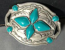 Vintage 1994 Arroyo Grande Turquoise Enamel Belt Buckle #G99 Made in USA , Eagle