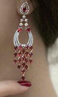 Solid 925 Sterling Silver Red Pear Round Long Dangle Earrings Jewelry Women*