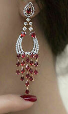 Solid 925 Sterling Silver Red Pear Round Long Dangle Earrings Jewelry Women*