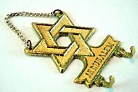 Vintage Star of David JERUSALEM Wall Key Holder Hooks Gold and Silver Plated