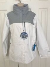 NWT COLUMBIA WOMEN'S POURATION RAIN JACKET WHITE/GRAY