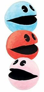 SET of 3 Pac-Man Plush 5 ''  Brand New Pac-Man.RED, BLUE, PINK.USA