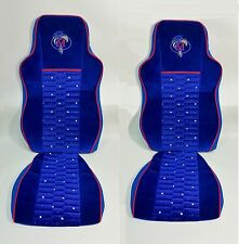2x Lorry Seat Covers Blue Velvet FIT FOR MAN TGS 440 2008-2015
