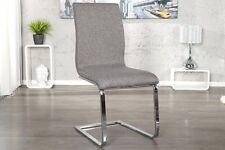 Chaise cantilever RIVIERA tissu texture Gris chrome de salle à manger NEUF