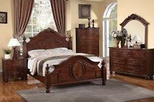 Queen Cal King Est King 4Pc Bedroom Set Headboard Natural Cherry Wood Finish