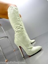 MORI ITALY EXTREME KNEE HIGH BOOTS STIEFEL STIVALI LEATHER MINT GREEN VERDE 41