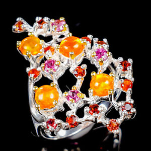 Rainbow SET4x4mm Natural Orange Opal 925 Sterling Silver Ring Size 7/R123333