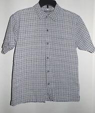 POINT ZERO Plaid Short Sleeve Shirt Size L  10 - 12 Khaki Navy White Gray