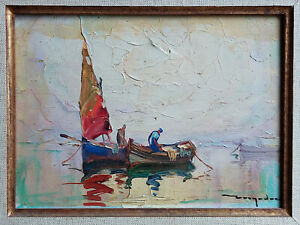 TABLEAU ancien signé ELIE BERNADAC Peinture huile bois Marine tartane Nice pêche