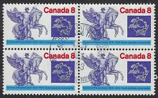 "Scott 648ii: 8c UPU ""CANADA 8"" Ghost Print variety in used block of 4, VF"