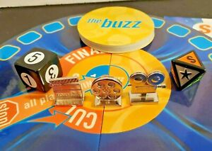 2003 Scene It DVD Pieces - 3 Metal Player Tokens 6 & 8 Sided Dice Trivia Cards..