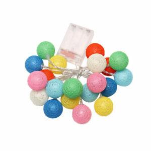 LED Lichterkette Bälle Cotton Ball Lights Batterie mit 10-20 Baumwollkugeln Deko