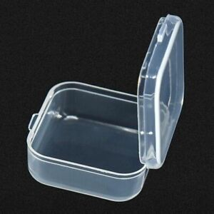 10Pcs Mini Clear Plastic Small Box Hook Jewelry Earplugs Container Storage