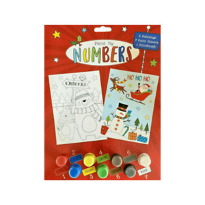 Christmas Paint by Numbers Set Stocking Filler Gift Children's Kids Crafts Xmas