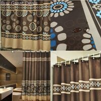 Bathroom Fabric Shower Curtain Set 72inx75in Mildew Free Water Repellent Coffee